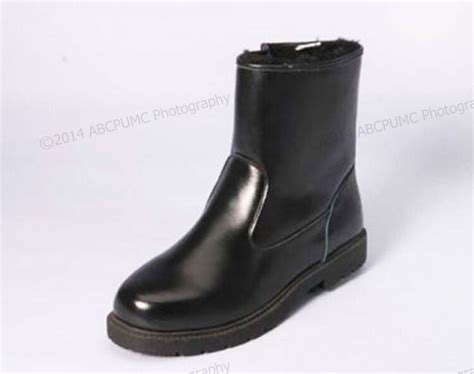 nib mens winter boots leather ankle warm fur lined side
