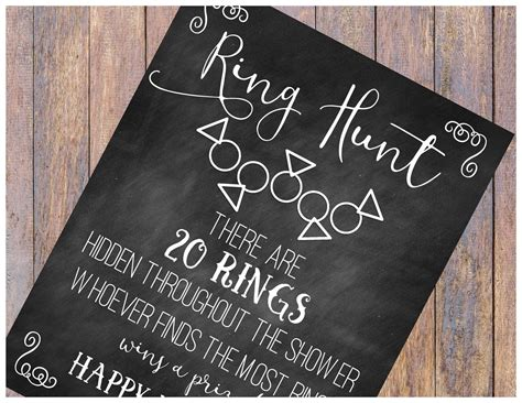 ring hunt bridal shower game print chalkboard sign 8 5