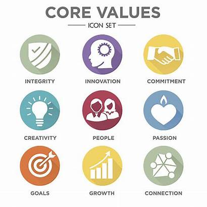 Values Core Company Icons Infographics Mission Websites