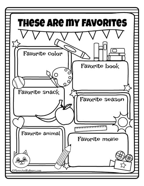 all about me worksheets free printable for back to