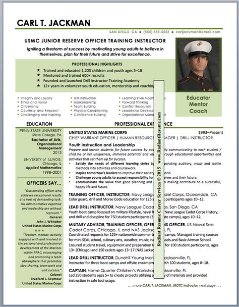 Jrotc Instructor Resume by Resume Sles