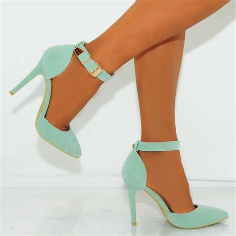 mint colored heels mint green faux suede pointed ankle stiletto