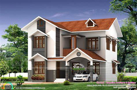 Simple cute home architecture Kerala home design and
