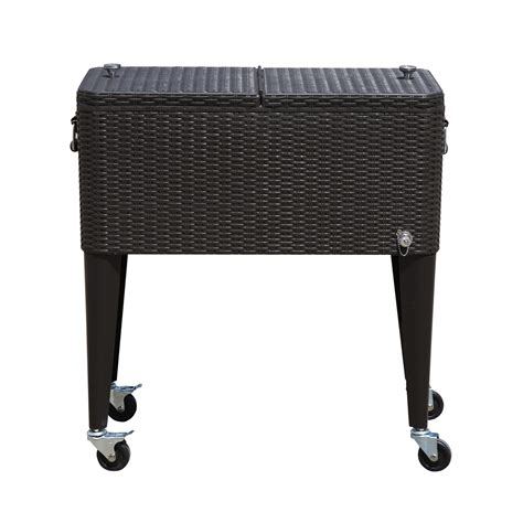 outdoor patio wicker rattan 80qt rolling cooler cart yard