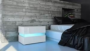 Table De Nuit Haute : table de chevet de nuit salle coucher flow en blanc ou noir haute brillance ebay ~ Teatrodelosmanantiales.com Idées de Décoration