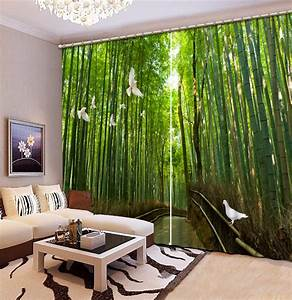 chinese curtains customize 3d curtains bamboo forest With bamboo curtains in living rooms
