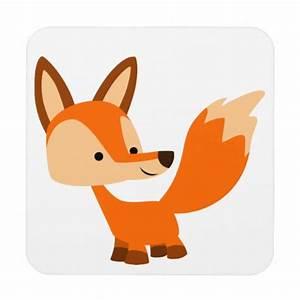 Cute Friendly Cartoon Fox Coasters Set   Zazzle