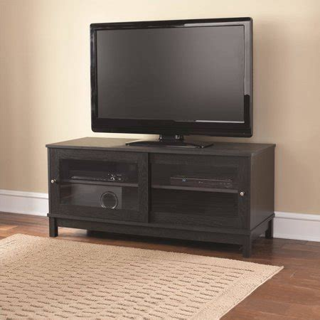 tv cabinets walmart mainstays 55 quot tv stand with sliding glass doors black