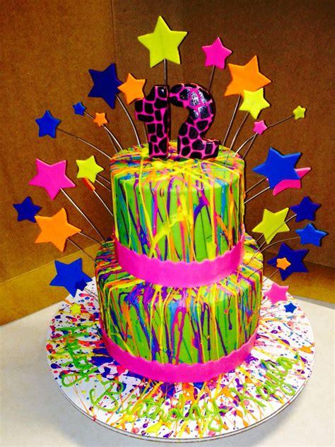 neon buttercream splatter cake  creations pinterest