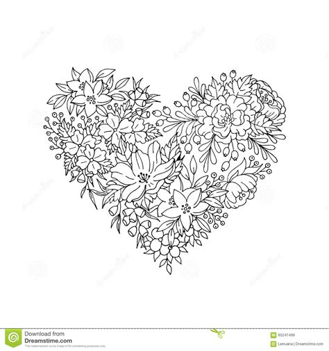 black  white floral heart stock vector image