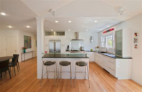 Eat In Island Kitchen - corner post kitchen contemporary with white swivel bar height stools