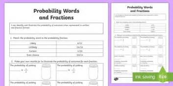 probability words and fractions worksheet activity sheet