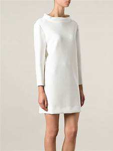 courreges funnel neck fitted mini dress in white lyst With robes courrèges