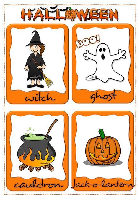 halloween flashcards worksheet  esl printable