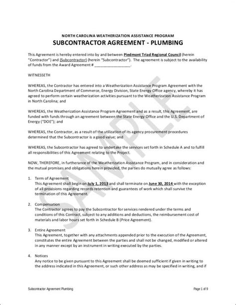 plumbing contract samples   ms word