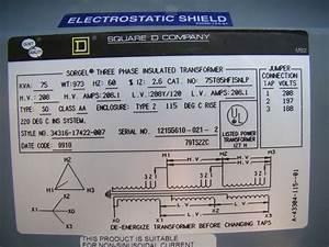 Square D 3 Phase Transformer 208 X 208y  120 Volt 75 Kva 75t85hfisnlp