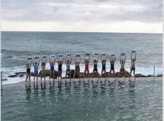Swimmers at Bronte Beach, Sydney, Australia A group of