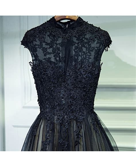 Vintage Chic Long Black Lace Formal Prom Dress With Cap ...