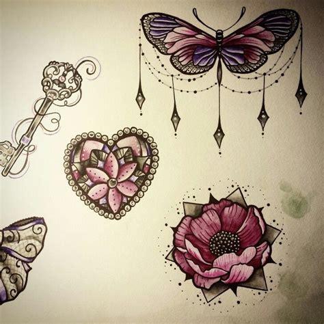 butterfly flower jewels draw nina tattoo pink purple