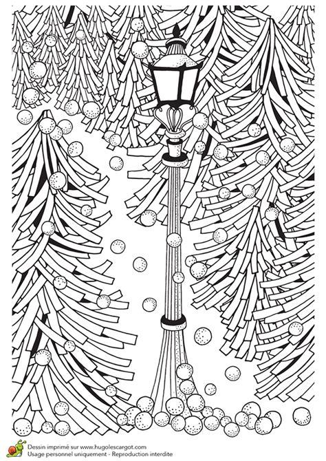 dessin  colorier pour  hiver zen lampadaire