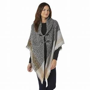 Women's Poncho Sweater - Plaid