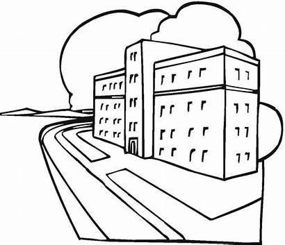 Hospital Coloring Pages Printable Buildings Ziggurat Medical