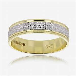 9ct gold ladies two colour patterned wedding band for Wedding rings silver and gold