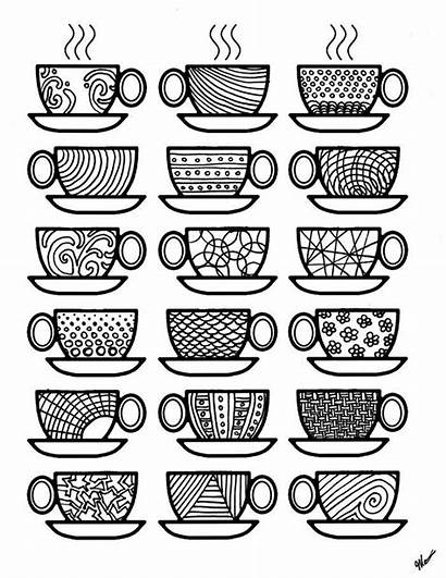 Coloring Coffee Pages Adult Cups Colouring Adults