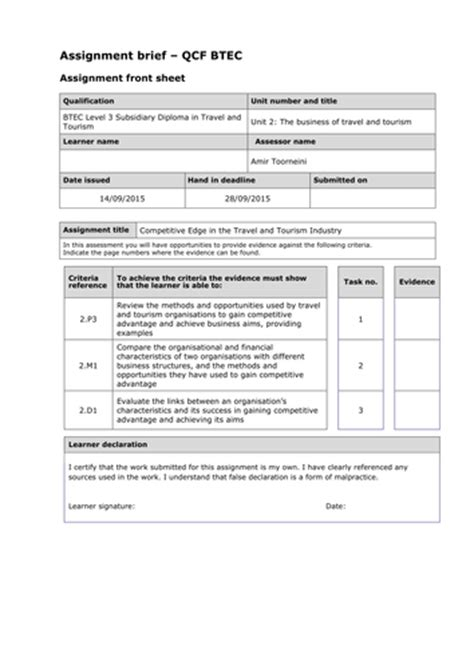 level  btec travel  tourism qcf unit  assignment
