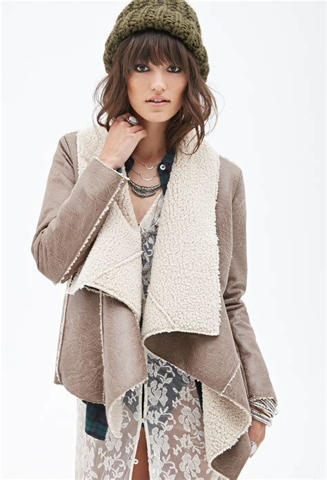 shearling drape coat forever 21 draped faux shearling jacket in brown lyst