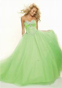 Ball Gown sweetheart floor length light green beaded prom ...