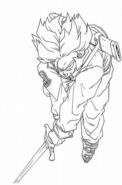 Coloring Pages Trunks Goku Dragon Ball Vegeta