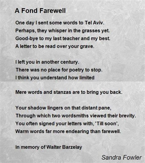 fond farewell a fond farewell poem by fowler poem comments