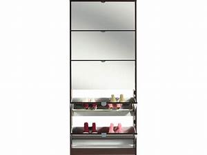 meuble a chaussures 5 abattants miroir coffee coloris With charming meuble a chaussure avec miroir 1 meuble chaussures facade miroir