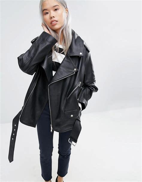 weekday weekday press pack oversize   shoulder leather jacket