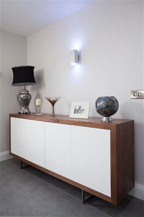 Sideboard In Living Room by Walnut High Gloss White Sideboard Contemporary
