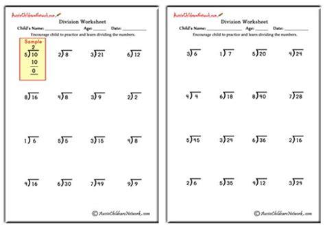 single digit quotient simple division worksheets no