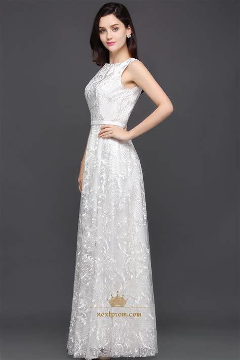 Elegant White Sleeveless Lace Overlay A-Line Floor Length ...