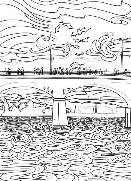 Austin Congress Bridge Coloring Page | Borrelli Illustrations