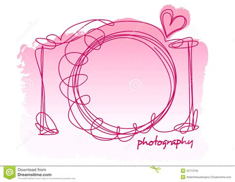 Camera Scribble With A Heart On A White Background Stock