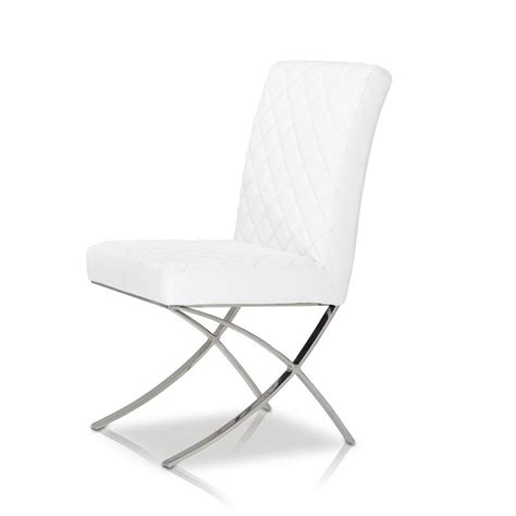 modern white eco leather dining chair