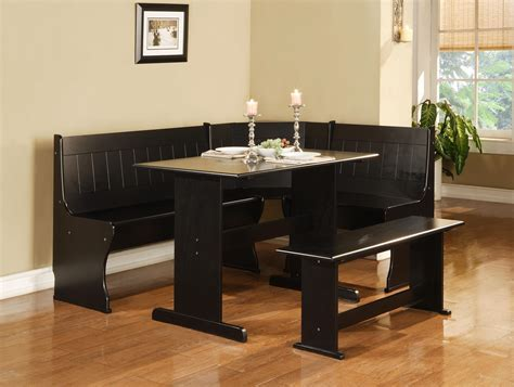 Masculine Breakfast Nook 3 Piece Corner Dining Set Black