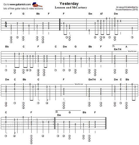 Yesterday Beatles Guitar Lesson Easy Songs