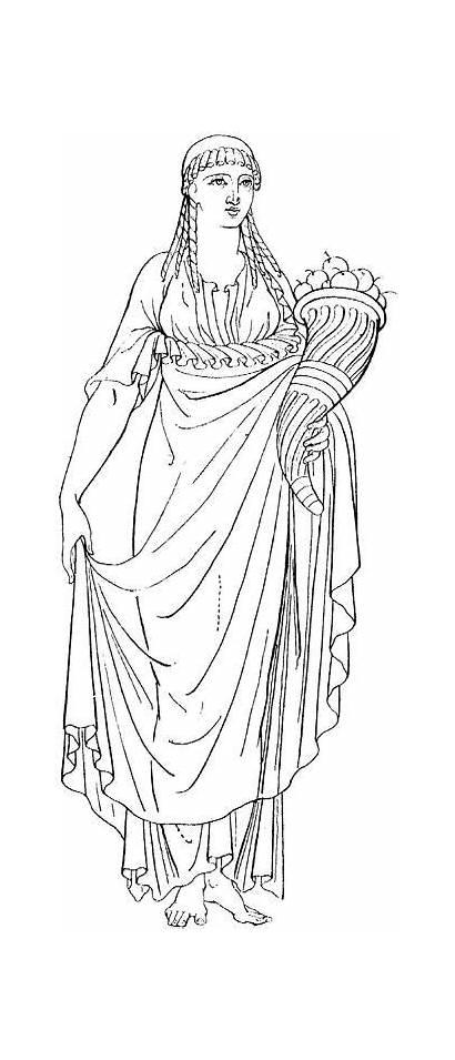 Greek Cornucopia Coloring Ancient Pages Greece Woman