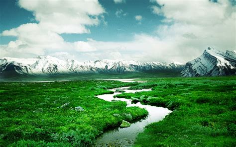 Mountains With Snow Green Meadow Flow Water Desktop ...