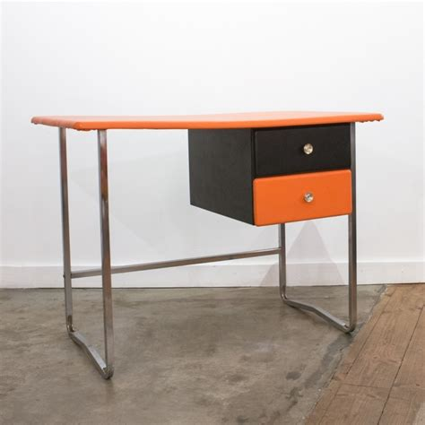 bureau chrome bureau orange chrome et noir