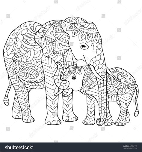 hand drawn elephants coloring page stock vector