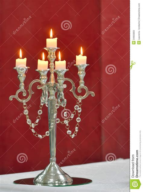 silver classic candlestick isolated  red stock image