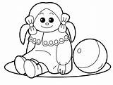 Coloring Toys Doll Toy Pages sketch template