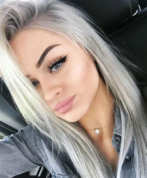 silber blond haare look hair haarfarben haarfarben